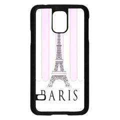 Pink Paris Eiffel Tower Stripes France Samsung Galaxy S5 Case (black) by Mariart