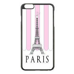 Pink Paris Eiffel Tower Stripes France Apple Iphone 6 Plus/6s Plus Black Enamel Case by Mariart
