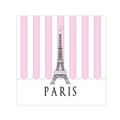 Pink Paris Eiffel Tower Stripes France Small Satin Scarf (square) by Mariart