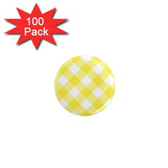 Plaid Chevron Yellow White Wave 1  Mini Magnets (100 Pack)  by Mariart