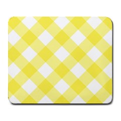 Plaid Chevron Yellow White Wave Large Mousepads by Mariart