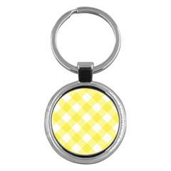 Plaid Chevron Yellow White Wave Key Chains (round)  by Mariart