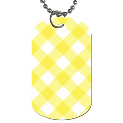 Plaid Chevron Yellow White Wave Dog Tag (two Sides) by Mariart