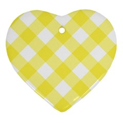 Plaid Chevron Yellow White Wave Heart Ornament (two Sides) by Mariart