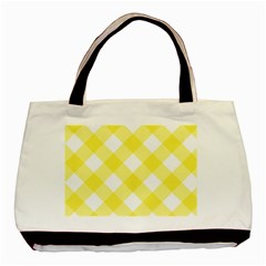 Plaid Chevron Yellow White Wave Basic Tote Bag (two Sides) by Mariart