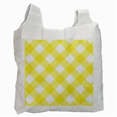 Plaid Chevron Yellow White Wave Recycle Bag (one Side) by Mariart