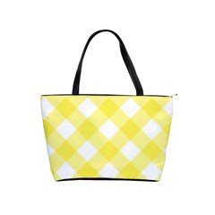 Plaid Chevron Yellow White Wave Shoulder Handbags by Mariart