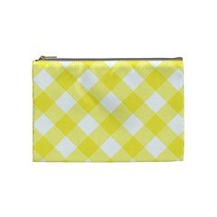 Plaid Chevron Yellow White Wave Cosmetic Bag (medium)  by Mariart
