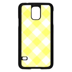 Plaid Chevron Yellow White Wave Samsung Galaxy S5 Case (black) by Mariart