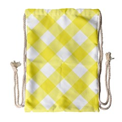 Plaid Chevron Yellow White Wave Drawstring Bag (large) by Mariart