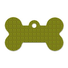 Royal Green Vintage Seamless Flower Floral Dog Tag Bone (two Sides) by Mariart