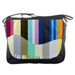 Rainbow Color Line Vertical Rose Bubble Note Carrot Messenger Bags by Mariart