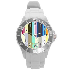 Rainbow Color Line Vertical Rose Bubble Note Carrot Round Plastic Sport Watch (l) by Mariart