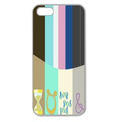 Rainbow Color Line Vertical Rose Bubble Note Carrot Apple Seamless Iphone 5 Case (clear) by Mariart