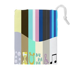 Rainbow Color Line Vertical Rose Bubble Note Carrot Drawstring Pouches (extra Large)