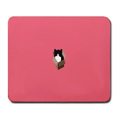 Minimalism Cat Pink Animals Large Mousepads by Mariart