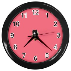 Minimalism Cat Pink Animals Wall Clocks (black) by Mariart
