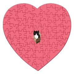 Minimalism Cat Pink Animals Jigsaw Puzzle (heart) by Mariart