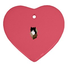 Minimalism Cat Pink Animals Heart Ornament (two Sides) by Mariart