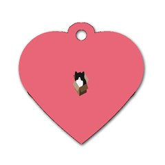 Minimalism Cat Pink Animals Dog Tag Heart (two Sides) by Mariart