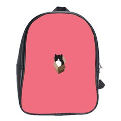 Minimalism Cat Pink Animals School Bags (xl)  by Mariart