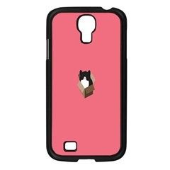 Minimalism Cat Pink Animals Samsung Galaxy S4 I9500/ I9505 Case (black) by Mariart