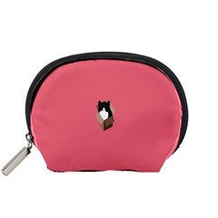 Minimalism Cat Pink Animals Accessory Pouches (small)  by Mariart