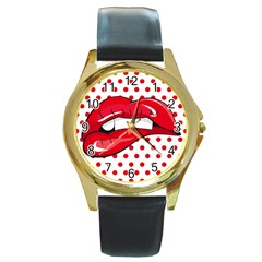 Sexy Lips Red Polka Dot Round Gold Metal Watch by Mariart