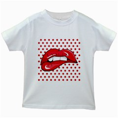 Sexy Lips Red Polka Dot Kids White T Shirts by Mariart