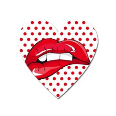 Sexy Lips Red Polka Dot Heart Magnet by Mariart