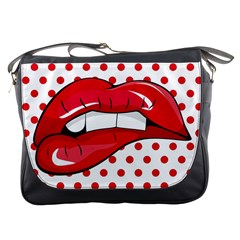 Sexy Lips Red Polka Dot Messenger Bags by Mariart