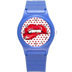 Sexy Lips Red Polka Dot Round Plastic Sport Watch (s) by Mariart