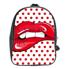 Sexy Lips Red Polka Dot School Bags (xl)  by Mariart