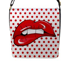 Sexy Lips Red Polka Dot Flap Messenger Bag (l)  by Mariart