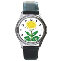 Sunflower Floral Flower Yellow Green Round Metal Watch by Mariart