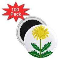 Sunflower Floral Flower Yellow Green 1 75  Magnets (100 Pack)  by Mariart