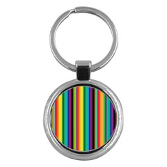 Multi Colored Colorful Bright Stripes Wallpaper Pattern Background Key Chains (round)  by Nexatart