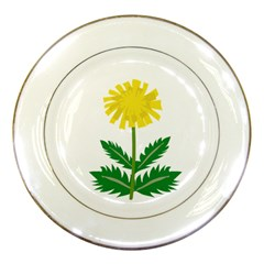 Sunflower Floral Flower Yellow Green Porcelain Plates by Mariart