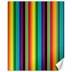 Multi Colored Colorful Bright Stripes Wallpaper Pattern Background Canvas 11  X 14   by Nexatart