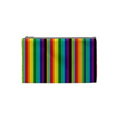 Multi Colored Colorful Bright Stripes Wallpaper Pattern Background Cosmetic Bag (small)  by Nexatart