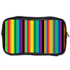 Multi Colored Colorful Bright Stripes Wallpaper Pattern Background Toiletries Bags 2 Side by Nexatart