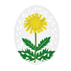 Sunflower Floral Flower Yellow Green Oval Filigree Ornament (two Sides) by Mariart
