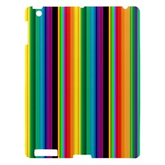 Multi Colored Colorful Bright Stripes Wallpaper Pattern Background Apple Ipad 3/4 Hardshell Case by Nexatart