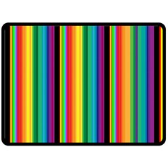 Multi Colored Colorful Bright Stripes Wallpaper Pattern Background Double Sided Fleece Blanket (large)  by Nexatart