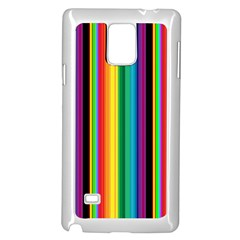Multi Colored Colorful Bright Stripes Wallpaper Pattern Background Samsung Galaxy Note 4 Case (white) by Nexatart