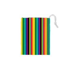 Multi Colored Colorful Bright Stripes Wallpaper Pattern Background Drawstring Pouches (xs)  by Nexatart