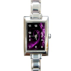 Purple Flower Floral Rectangle Italian Charm Watch by Mariart