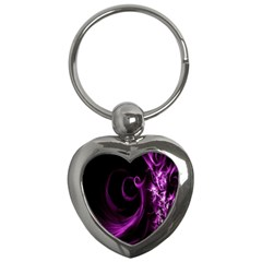Purple Flower Floral Key Chains (heart)  by Mariart