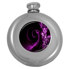 Purple Flower Floral Round Hip Flask (5 Oz)