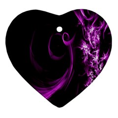 Purple Flower Floral Heart Ornament (two Sides) by Mariart